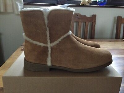 UGG Girls Brown Tan Coletta Leather Suede Casual Boots UK Size 3