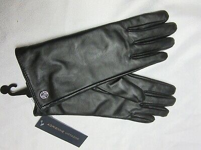 Adrienne Vittadini Womer's Genuine Leather 100% Cashmere Gloves Size S NEW W/TAG