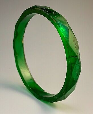 Ancient Roman Byzantine Faceted Green Glass Bracelet, 4-5Th Century Ad; Gorgeous