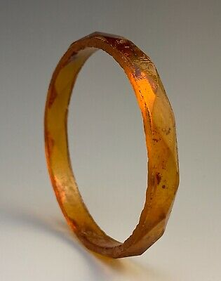 Ancient Roman Byzantine Faceted Orange Glass Bracelet, 4-5Th Century Ad; Choice!