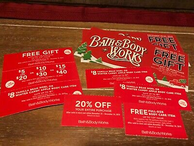 Lot of 9 Bath & Body Works Coupons Gift (4), $10 of $30 20% off & more