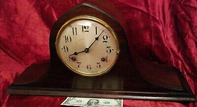 "Antique  Waterbury  Chiming  Mantel Clock Works Key 20"" L x 10"" H x 6""Deep"