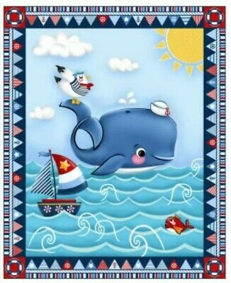 Whale Of A Time Quilt Panel  * New * Free Post * Fun Quilt Panel *