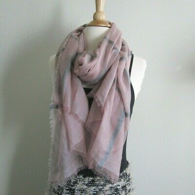 Burberry Pink Womens Mens Cashmere Embroidered Woven Baby Fringed Shawl Scarf