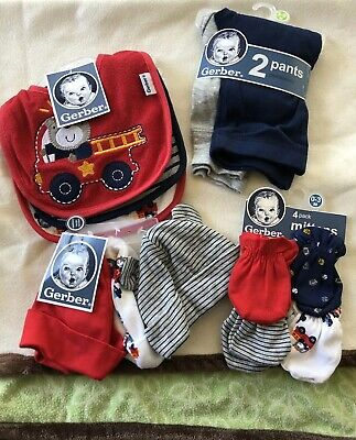 Gerber Baby Lot 4 Piece Set , Mittens, 2pk Pants , Bibs, Hats All New Fire Truck