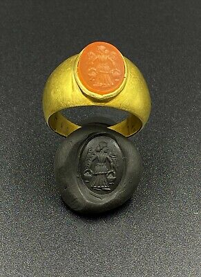 rOMAN GOLD INTAGLIO RING - 4th-1st Century bc