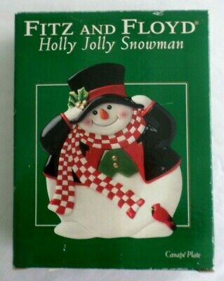 Fitz and Floyd, Essentials Holly Jolly Snowman Canape Plate. Christmas / Holiday