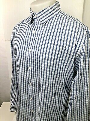 BEN SHERMAN Stretch Mens 17-17.5 XL Blue/Gray/White Plaid Shirt
