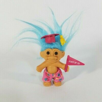 """Class of '92 Good Luck Troll with Grad Cap & Shorts 4"""" Doll wi Blue Hair by Russ"""