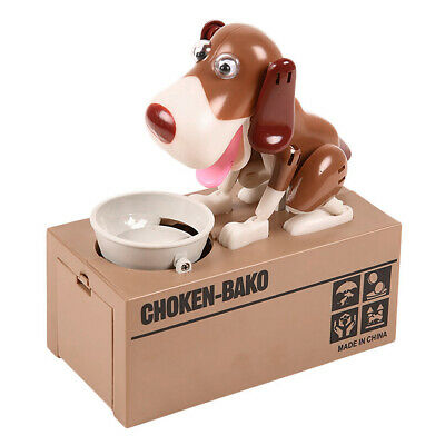 Cute Hungry Eating Dog Model Coin Piggy Bank Plastic Saving Unique Money Box