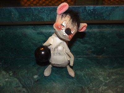 """Annalee Mobilitee Doll Mouse Al's Diner Bowling Ball 1969  6 1/2"""""""