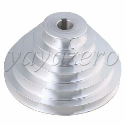 5.9x3.23Inch 19mm Five Step Belt Pulley Silver Aluminum for A Type V-belt