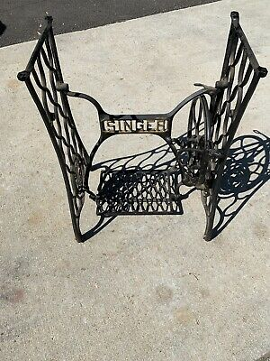 VTG Singer SEWING Machine IRON Treadle Base  Complete As Shown, Will Need Assemb