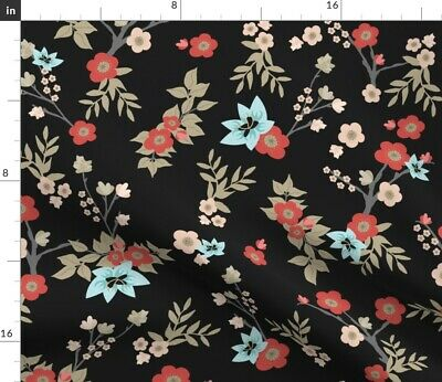 Kimono Florals Asian Inspired Floral Print Fabric Printed by Spoonflower BTY