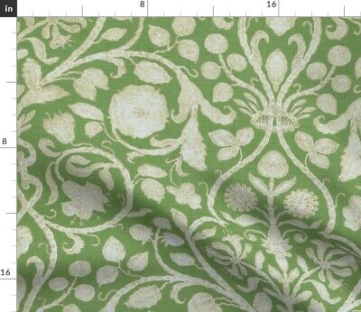 French Floral Green Flowers Fabric Printed by Spoonflower BTY