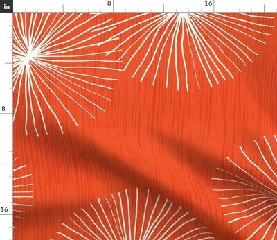 Dandelion Floral Coral Red Retro Mod Fabric Printed by Spoonflower BTY