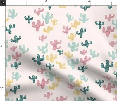 Bohemian Cactus Abstract Nursery Decor Floral Fabric Printed by Spoonflower BTY