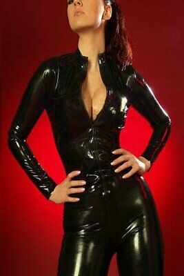 Latex Rubber Catsuit Elegant Fashion Black Women Full Cover Bodysuit Gummi Auzug