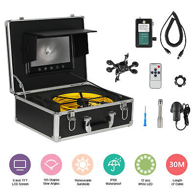 """9"""" LCD 30M Sewer Waterproof Camera Pipe Pipeline Drain Inspection System"""