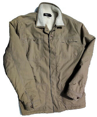 O'Neill Men's Sherpa Lined Winter Jacket Tan Large w/ Metal Buttons