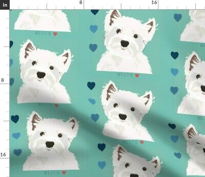 West Highland Terrier Dogs Fabric Printed by Spoonflower BTY