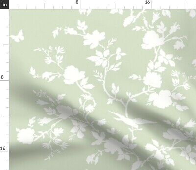 Floral Chinoiserie Silhouette Birds Home Decor Fabric Printed by Spoonflower BTY