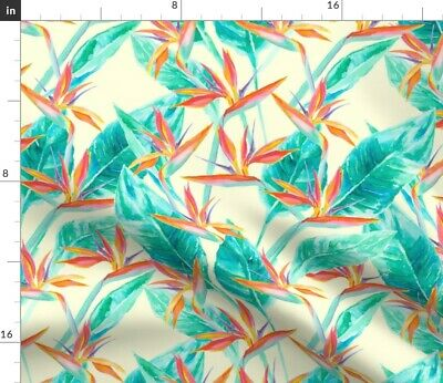 Watercolor Tropical Floral Birds Of Paradise Fabric Printed by Spoonflower BTY