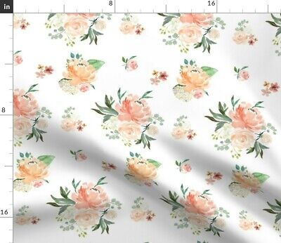 Watercolor Floral Flowers Spring Rose Baby Fabric Printed by Spoonflower BTY