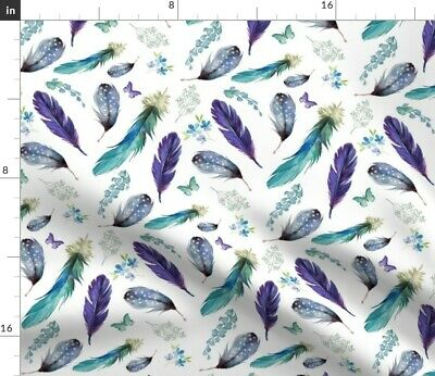 Lilac Feathers Butterfly Floral Mermaid Boho Fabric Printed by Spoonflower BTY