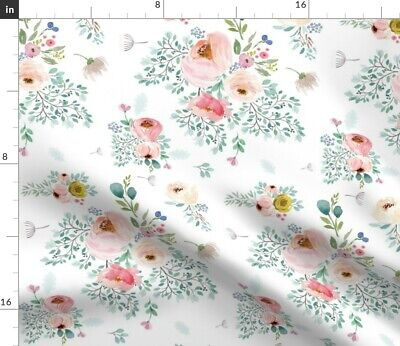 Spring Floral Watercolor Rose Baby Flowers Fabric Printed by Spoonflower BTY