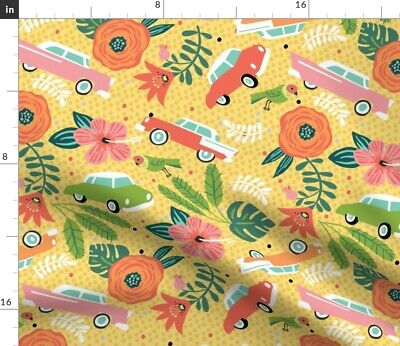 Cuba Cars Hibiscus Floral Tropical Colorful Fabric Printed by Spoonflower BTY