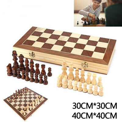 New Large Chess Wooden Set Folding Chessboard Magnetic Pieces Wood Board K