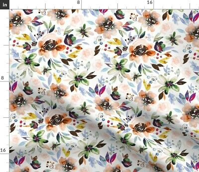 Floral Autumn Berry Fabric Printed by Spoonflower BTY