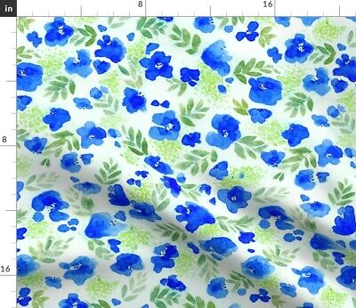 Green Blue Watercolor Floral Print Flower Fabric Printed by Spoonflower BTY