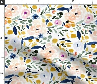 Floral Watercolor Multicolor Flowers Print Fabric Printed by Spoonflower BTY