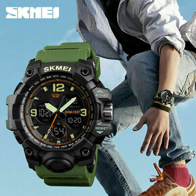 SKMEI Sports Military Waterproof Digital Analog Dual zone Quartz Wrist Watch USA