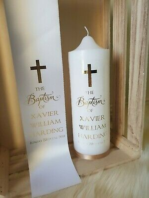 Personalised baptism candle and stole set