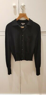 Cashmere Cotton Black Collared Button Jumper By Margaret Howell