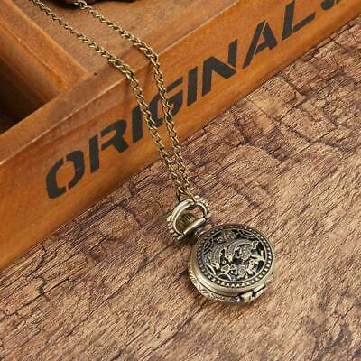 Quartz Pocket Watches Bronze Color Cool Chain Hollow Dolphin Cover Watches Decor
