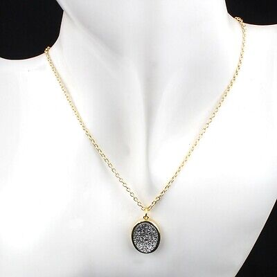 Oval Of White Coated Druzy Quartz Yellow Gold Plated Agate Drusy Chain Necklace