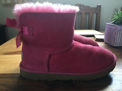 UGG Girls Pink Boots Bailey Bow Kids UK Size 3