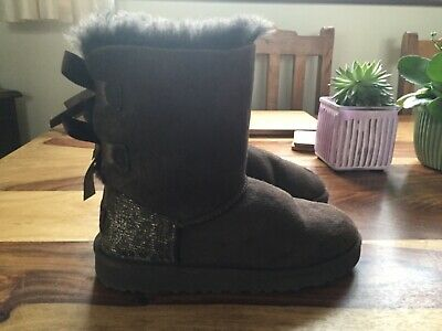 UGG Girls Brown Boots Bailey Bow Sparkle Sequins Kids UK Size 1 EU 32