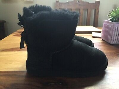 UGG Girls Black Bailey Bow Short Boots Kids Infant UK Size 12