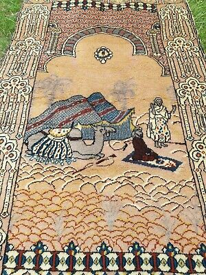Antique Hand-Knotted Natural Wool Pile Authentic Prayer Rug Signed by Mezey 1935