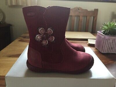 Clarks Girls Berry Pink Leather Boots Hoolasogtx Fst Infant UK Size 5 F