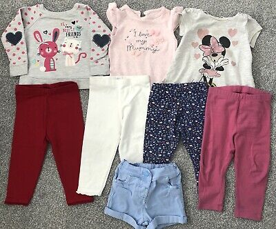 Girl's 8 Piece Assorted Clothes Bundle - 9-12 Months (Next, Mothercare, Disney)