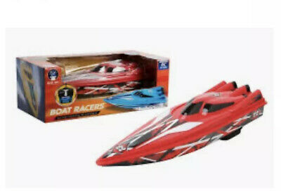 Boat Racers Battery Oprated Remote Control Speedboat 2.4mhz Blue Hat - Red