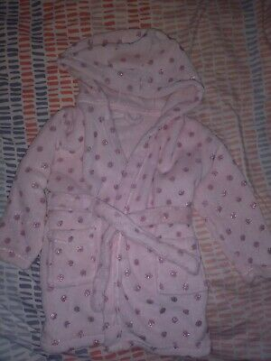 Girls Dressing Gown Pink Glitter 2-3 Years