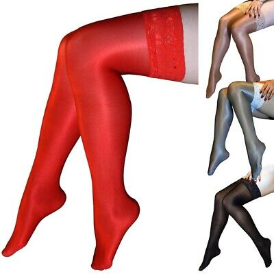 Women Shiny Glossy Stretchy Thigh High Stockings Lace with Silicone Hosiery