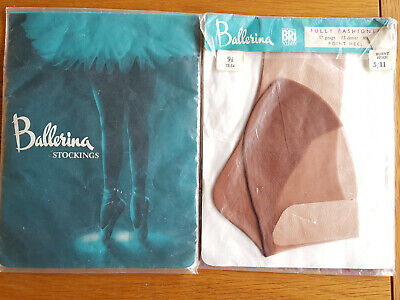 Vintage Fully Fashioned Sheer Seamed Tan Nylons Stockings Medium 9.5 FREE P&P